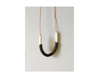Tribal Necklace - Dark wooden beads - Necklace n.10