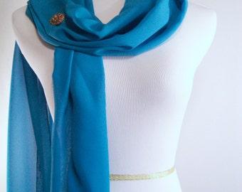 Bridal Scarf - Teal Blue Wedding Scarf -  Bridesmaid Scarf - Evening Wrap - Extra Long Teal Blue Silky Chiffon