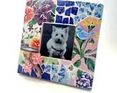 Floral Mosaic Frame, Square Floral Bird Mosaic Frame, Blue Pink Yellow Flower Frame, Blue Bird Mosaic Frame, 3x3 Ceramic Mosaic Frame