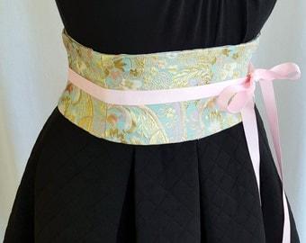 Pastel Brocade Mini Corset Obi  - Sash Waist Cincher Belt Made to Order