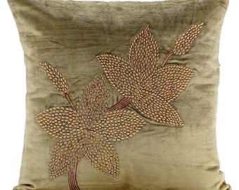 "Sage Green Throw Pillows Cover,  Square  Sage Green Zardozi Flower Ethnic Floral Theme 16""x16"" Velvet Pillowcase - Enlightenment"