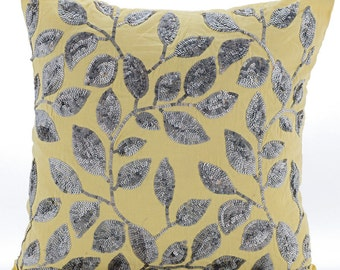 "Handmade Yellow Pillows Cover, 16""x16"" Cotton Linen Pillows Cover, Square  Sequins Leaves Garden Throw Pillows Cover - Silver Meadow"