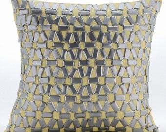 "Yellow Cushion Covers,  Square  3D Metallic Sequins Lattice Trellis 16""x16"" Cotton Linen Throw Pillows Cover - Yellow Twist"