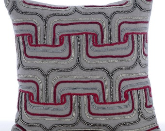 Decorative Throw Pillow Covers Accent Pillow Sofa Couch Pillow 16x16 Pillow Covers Grey Linen Pillow Cover Beads Embroidered Tranquility