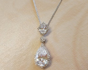 Crystal Necklace and Earring Set, CZ Jewelry, Bridal Necklace Set with CZ, Wedding Jewelry, Gold Earrings, Silver Earrings