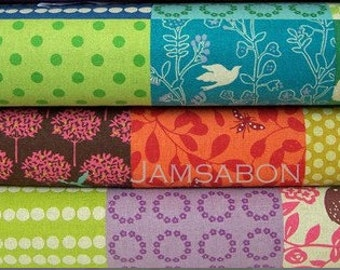 Japanese Cotton linen fabric / ECHINO by Etsuko Furuya - EF604 Story patchwork , 1 yard bundle of 3