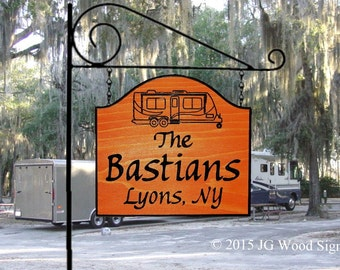 Travel Trailer Location Sign - Custom Carved RV Camping Sign - Includes Round Garden Holder
