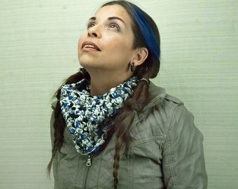 Fuzzy Blue, White and Grey  Circle Cowl Scarf
