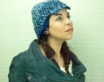 Blue Tones Hat Billed Beanie