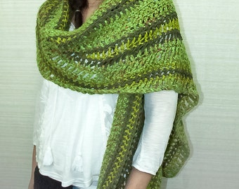 Green Striped Sweater Wrap One Sleeved Shawl
