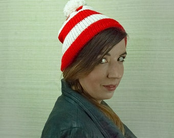 The Waldo Hat Red and White Striped Pom Pom