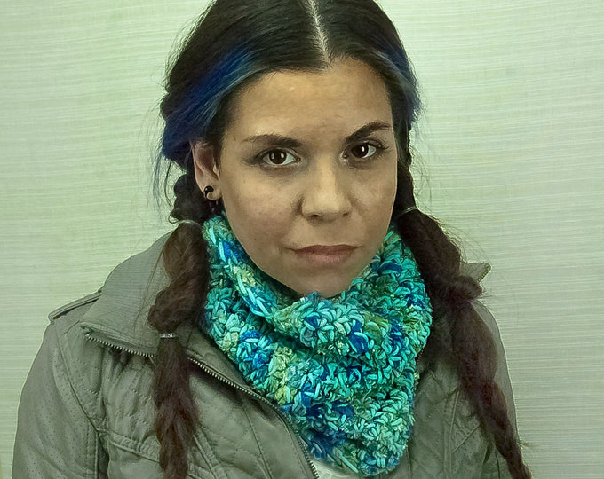 Velvet Scarf Teal and Blue Circle Infinity Cowl