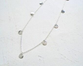 Droplets Necklace - handmade dappled droplet charm necklace, dappled metalsmith necklace, circle fringe charm necklace, multi dot necklace