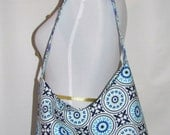 Handmade Shoulder Bag , Every Day Purse, Fabric Handbag,  Medallion in Blue Bag with Key Chain - Ready to ship