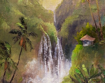 GOLDEN BLISS 12x6 Original Oil Painting Art Tropical Waterfall Stream Sunrise Paradise Sunset Palm Tree Mountain Hut Cottage House Tropics