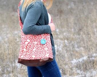 Messenger Bag, Meduim Amy Butler Floral, Faux Leather Bag, Chevron Tote, Spring Purse, Pleather Bag, Vegan Leather Purse, Pleated Purse