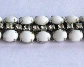 60s KRAMER White MILK GLASS & Rhinestone Bracelet -As Is