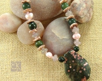 Green Ocean Jasper Necklace, Gemstone Necklace, Pink Pearl Necklace, Natural Necklace, Ocean Jasper Necklace, Rustic Necklace, Gift for Her