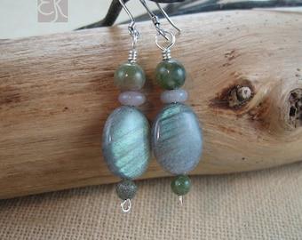 Labradorite Earrings, Dangle Earrings, Shimmering Earrings, Green Earrings, Gemstone Earrings, Gift for Her, Sterling Silver Earrings, Stone