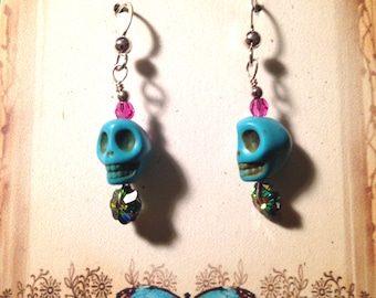 Small Skull Earrings with Crystal S.S Hooks