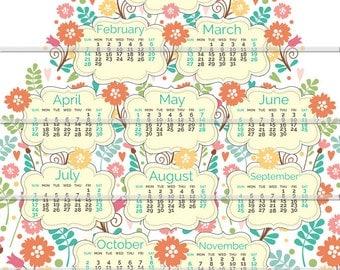 2016 Tea Towel Floral Calendar Linen-Cotton Canvas Fabric