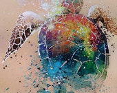 Turtle • watercolour with gouache • art print