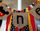 Mickey theme High Chair Banner -mickey mouse -one banner -burlap banner -photo props -Birthday Banner -rag tie banner -clubhouse