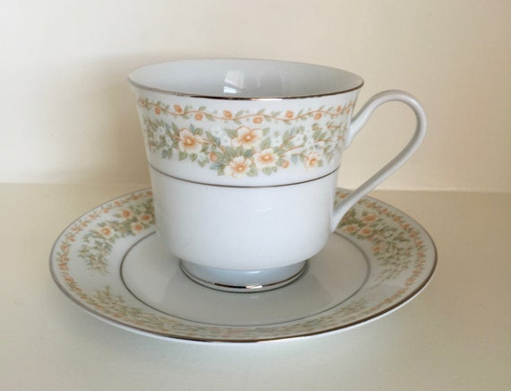 Vintage Tea Cup and Saucer Flowers design Baum Bros Fine China Coffee Cups