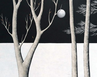 Midnight Walk - Archival Art Print - Modern Landscape Painting - Night Forest - by Natasha Newton