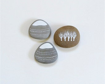 Mountains and Trees - Collection of 3 Painted Stones - Beach Pebble, Rock Art - by Natasha Newton