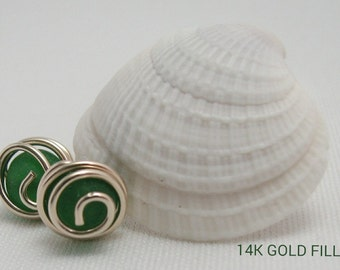 Dark Green Studs Cultured Sea Glass Your Choice of 14K Gold Filled or Sterling Silver
