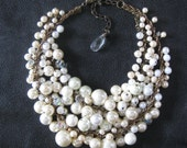 Pearl Bib Necklace - Mermaid Farts - LIGHT - Two Rows - Choker Length - Ideal for Petite