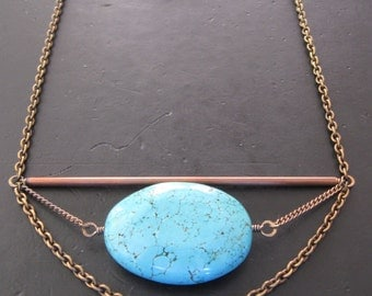 Geometric Statement Necklace - Giant Howlite Turquoise Oval and Copper Tube