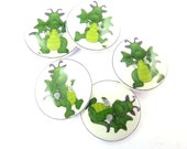 """5 Green Dragon Buttons.  5 Handmade Buttons for Sewing.  3/4"""" or 20 mm."""