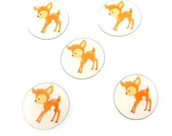 """5 Handmade Deer Buttons.  3/4"""" or 20 mm Sewing Buttons.  Woodland animal buttons.  Lightweight buttons for knitting, crochet, scrapbooks."""
