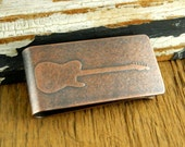 Guitar money clip, engraved money clip, Fender Telecaster, personalized gifts for him.