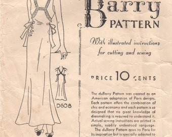 1930s DuBarry D608 Misses Nightgown Pattern Sleeveless Shaped Neckline Flared Skirt Womens Vintage Sewing Pattern Size 36 Bust 36