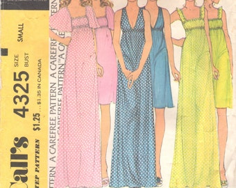 McCalls 4325 1970s Misses Empire Nightgown Pattern Square V Neck Womens Vintage Sewing Pattern Size Small 32 - 34