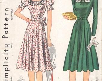 1940s Simplicity 3454 Misses Dress Pattern Detachable Yoke Ruffles 12 Gore Skirt Shirred Womens Vintage Sewing Pattern Size 14 Bust 32