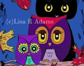 Whimsical Owls Cat Note Cards Set from Original Art Creationarts