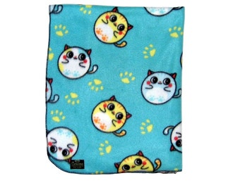 Fat Cat - Chibi - Harajuku - Blue Blanket - Baby Blanket - Toddler Blanket -  Fleece Blanket - Stroller Blanket -  Nursery Blanket