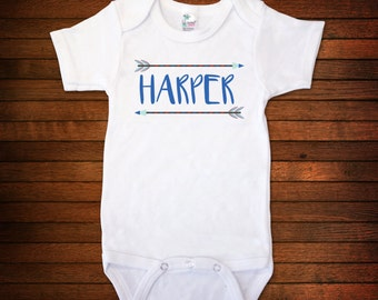 Custom Name w/ Arrows One Piece Bodysuit - Funny Baby Gift