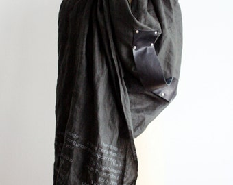 Women's linen scarf, leather, e.e. cummings printed scarves, wraps and shawls,  gifts for her, mens scarves