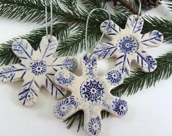 Set of 3 Handmade Ceramic Snowflake Christmas Ornaments