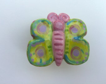 Green and Lavender Butterfly Knob, Handle, Drawer Pull