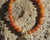 Red Aventurine Mala Bracelet prayer beads rosary with Bodhi Tree charm - 27 beads