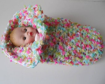 Huggums Sleeping Bag, Colorful Doll Cocoon, Baby Doll Blanket, Doll Bunting, Snuggle, Crochet Doll Clothes, Fits Huggums and 12 inch Dolls