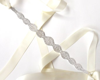 Stylish Crystal Bridal Belt Sash or Headband in Silver - White Ivory Silver Satin Ribbon - Rhinestone Wedding Dress Belt - Extra Long