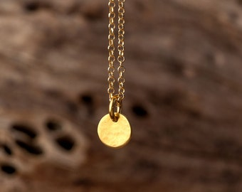 Personalized womens Hammered Gold Initial Necklace 14k solid Gold Gift for Her Layering Necklace Bridal necklace Dainty necklace