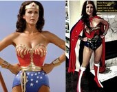 Full Wonder Woman Costume: Emblem Corset, Belt, Tiara, Cuffs and your Choice of Bottoms WITH Cape...